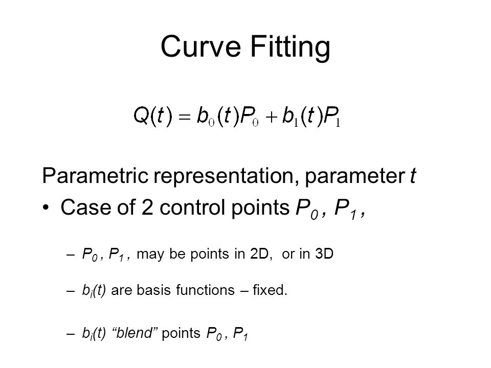 Curve Fitting Parametric representation, parameter t
