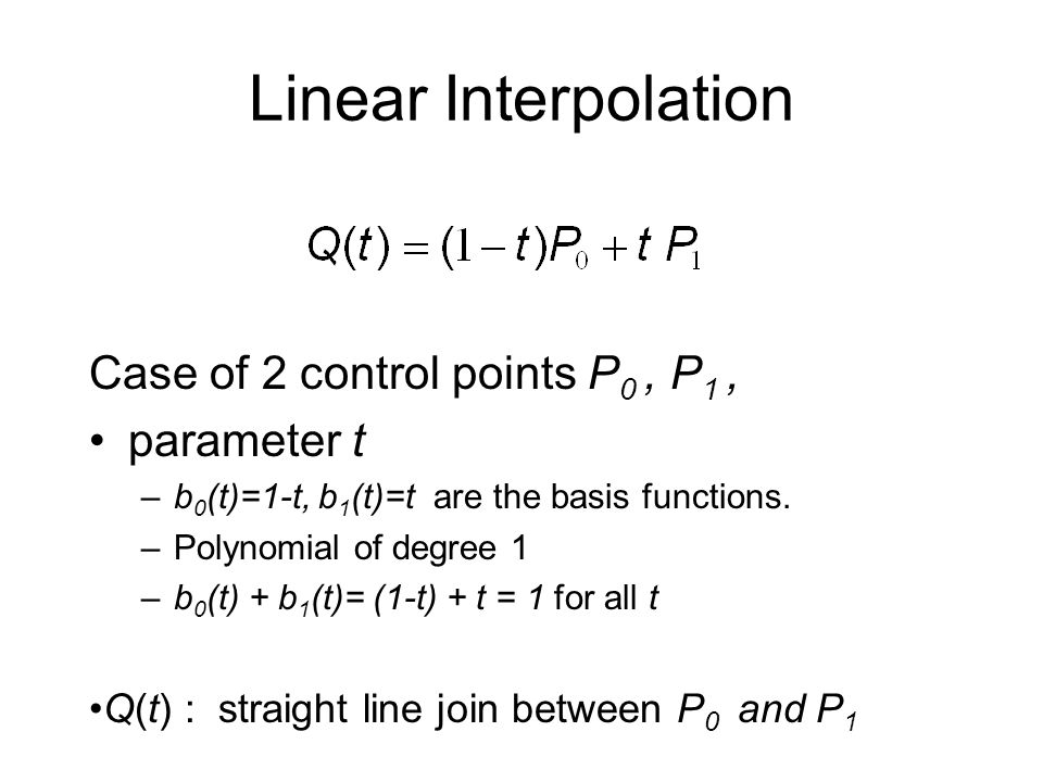 Linear Interpolation Case of 2 control points P0 , P1 , parameter t