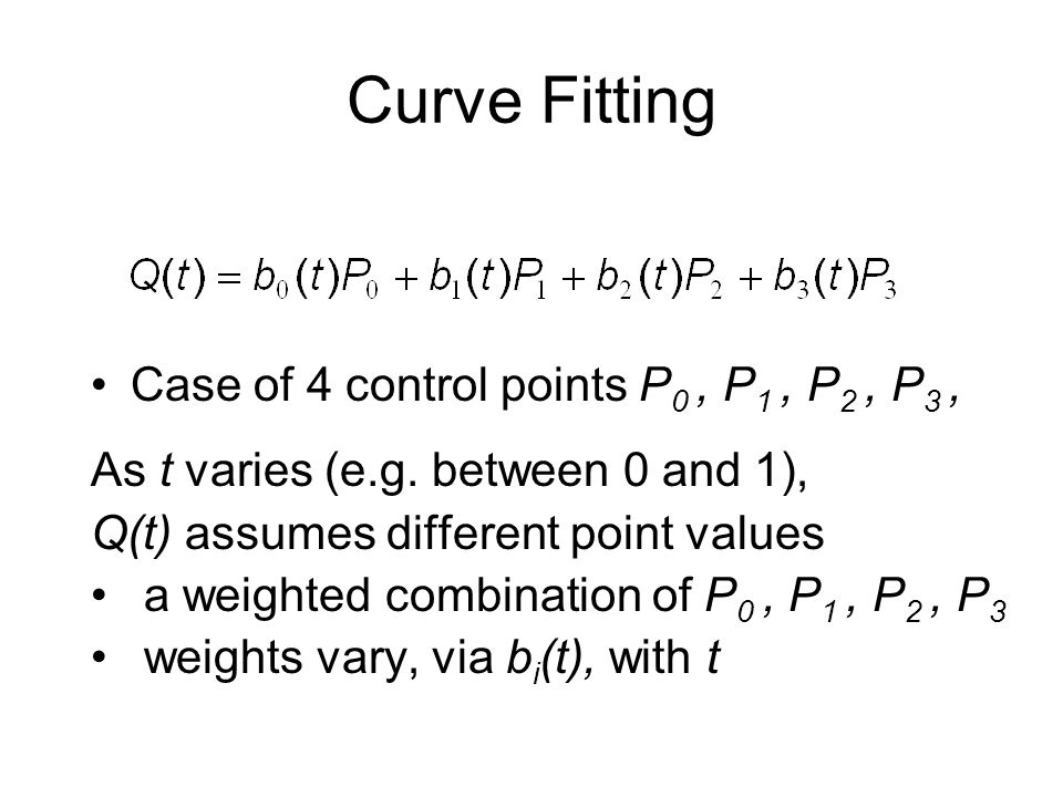 Curve Fitting Case of 4 control points P0 , P1 , P2 , P3 ,