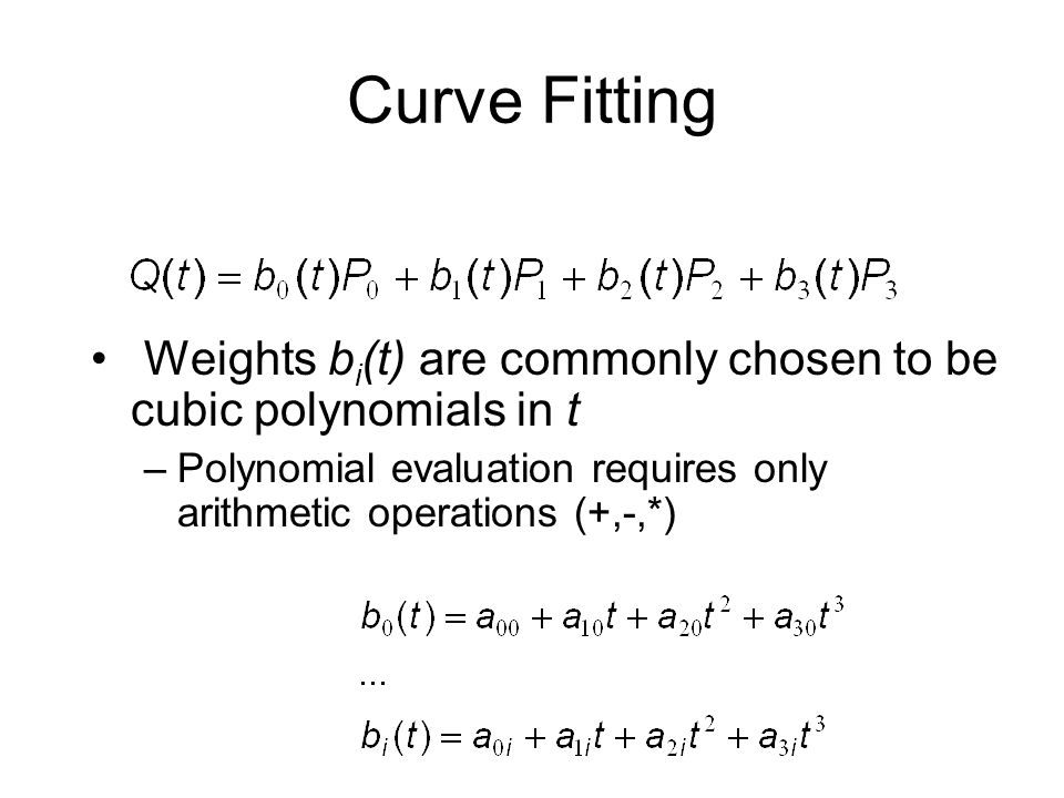 Curve Fitting Weights bi(t) are commonly chosen to be cubic polynomials in t.
