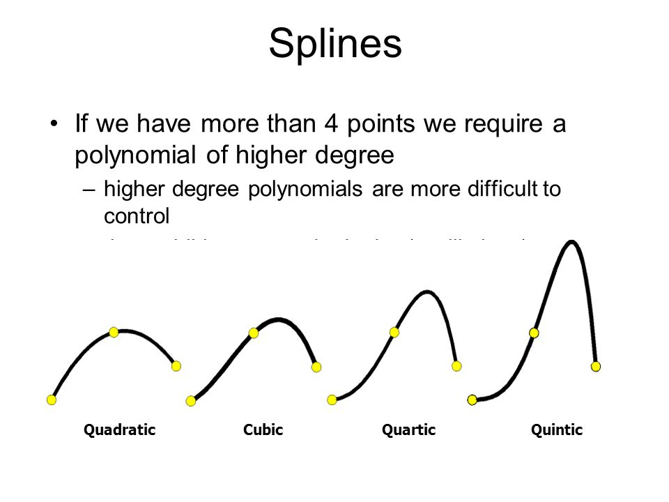 Splines If we have more than 4 points we require a polynomial of higher degree. higher degree polynomials are more difficult to control.