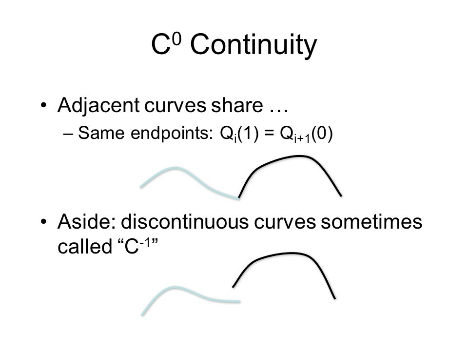 C0 Continuity Adjacent curves share …