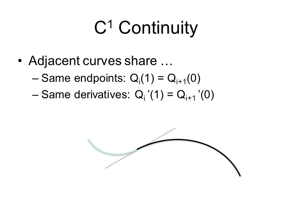 C1 Continuity Adjacent curves share … Same endpoints: Qi(1) = Qi+1(0)