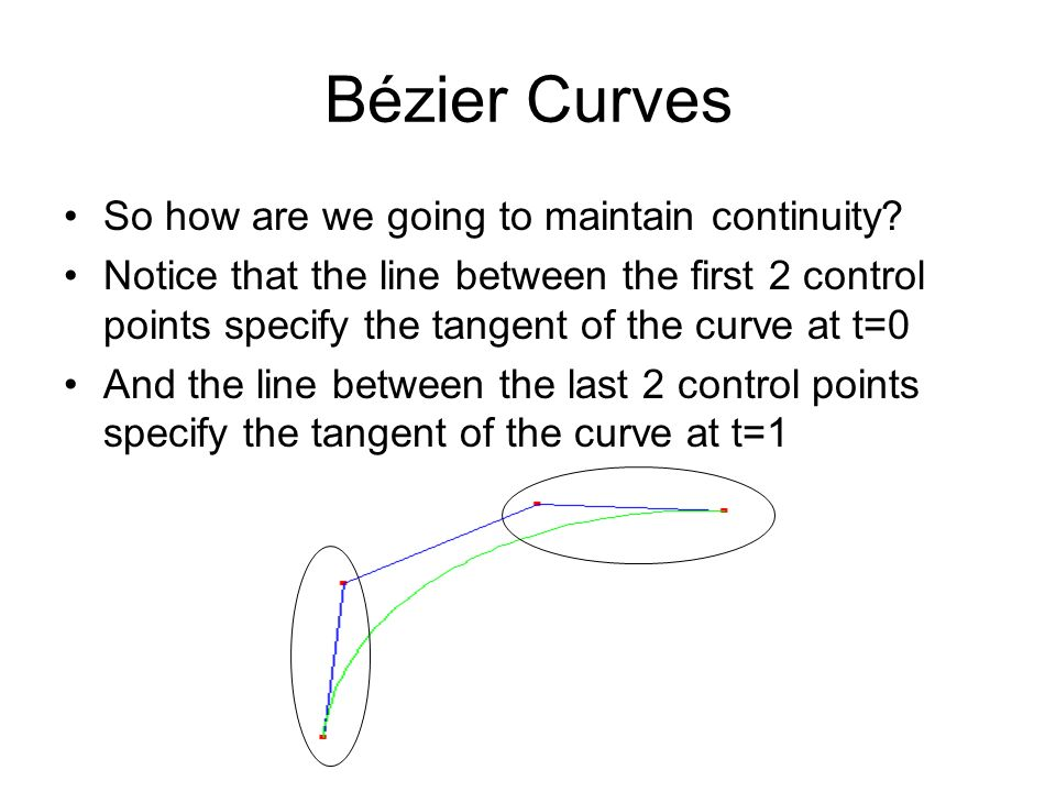 Bézier Curves So how are we going to maintain continuity