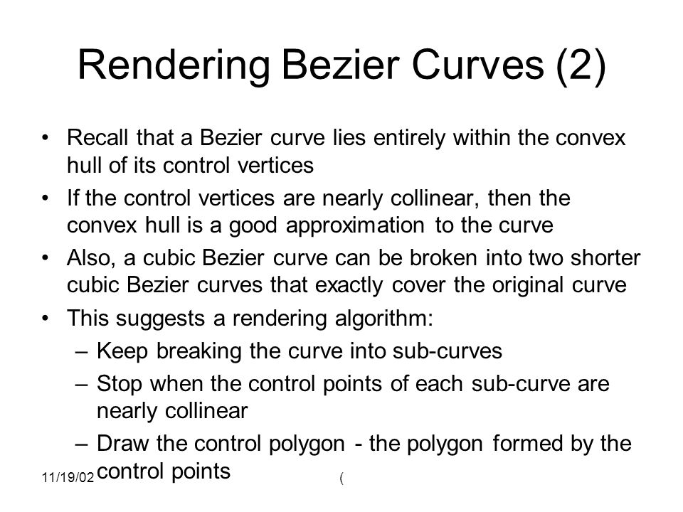 Rendering Bezier Curves (2)