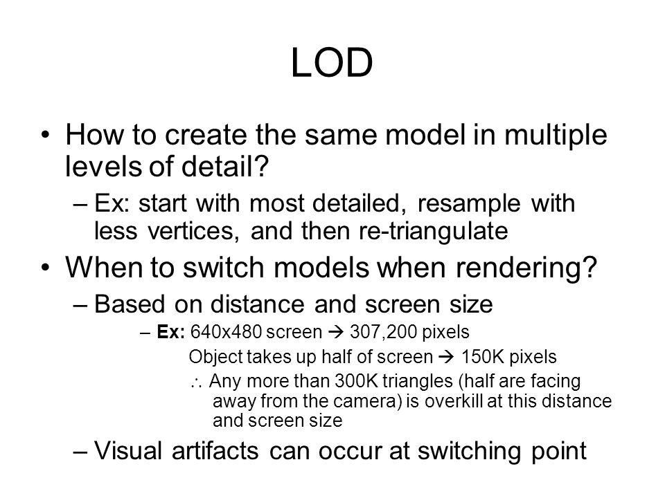 LOD How to create the same model in multiple levels of detail