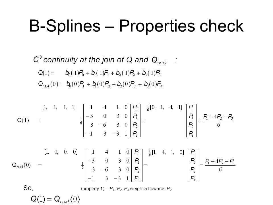 B-Splines – Properties check