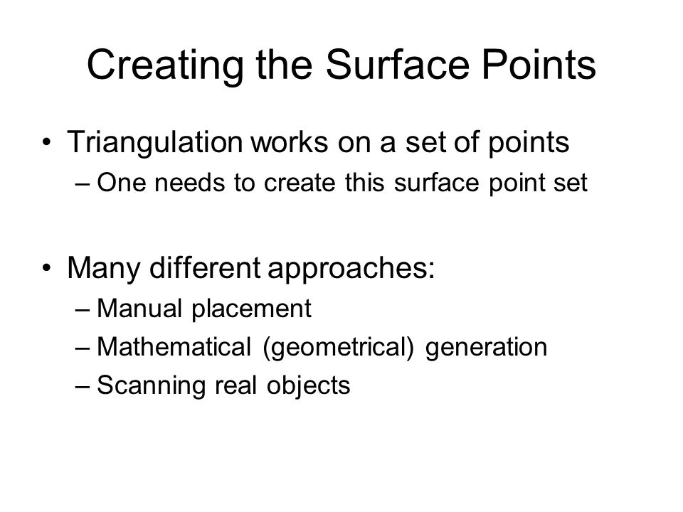 Creating the Surface Points