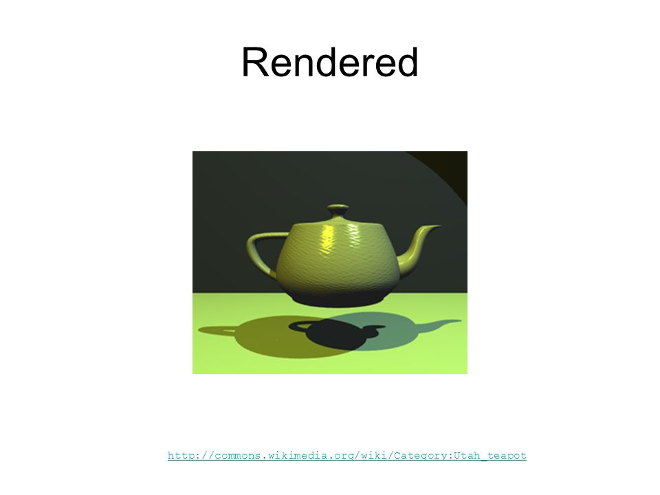 Rendered http://commons.wikimedia.org/wiki/Category:Utah_teapot