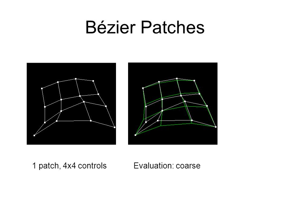 Bézier Patches 1 patch, 4x4 controls Evaluation: coarse