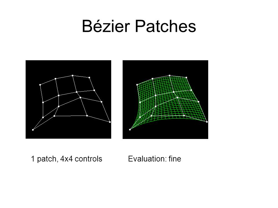 Bézier Patches 1 patch, 4x4 controls Evaluation: fine