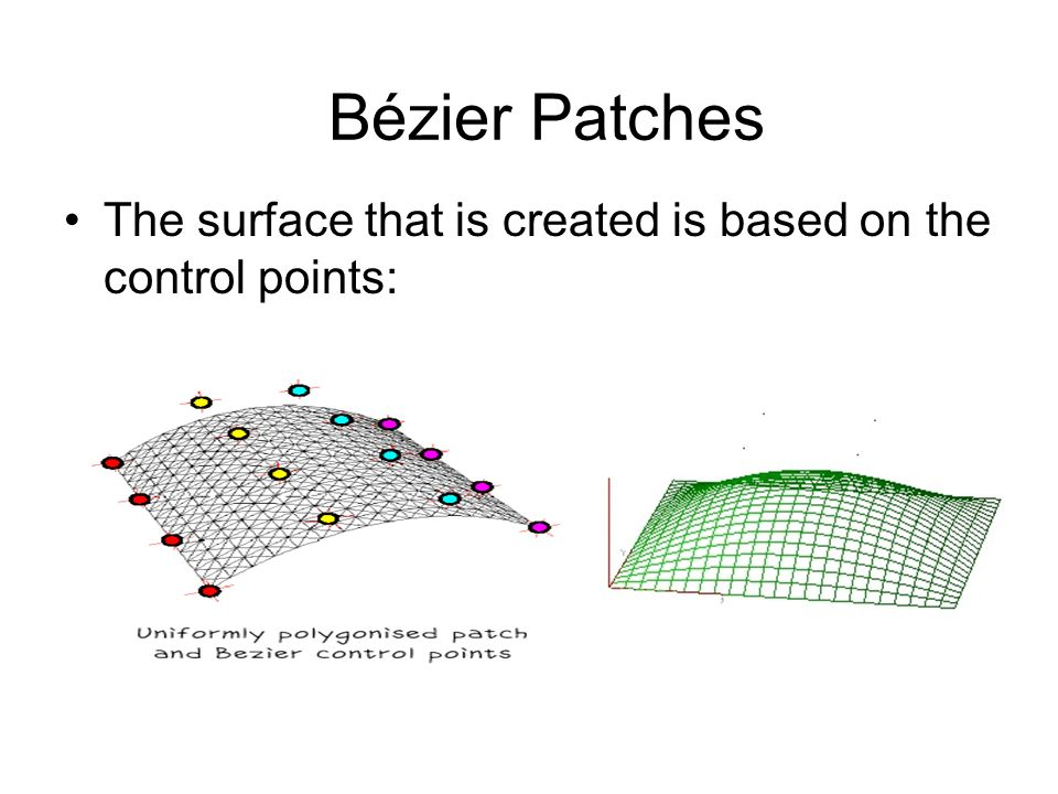 Bézier Patches The surface that is created is based on the control points: