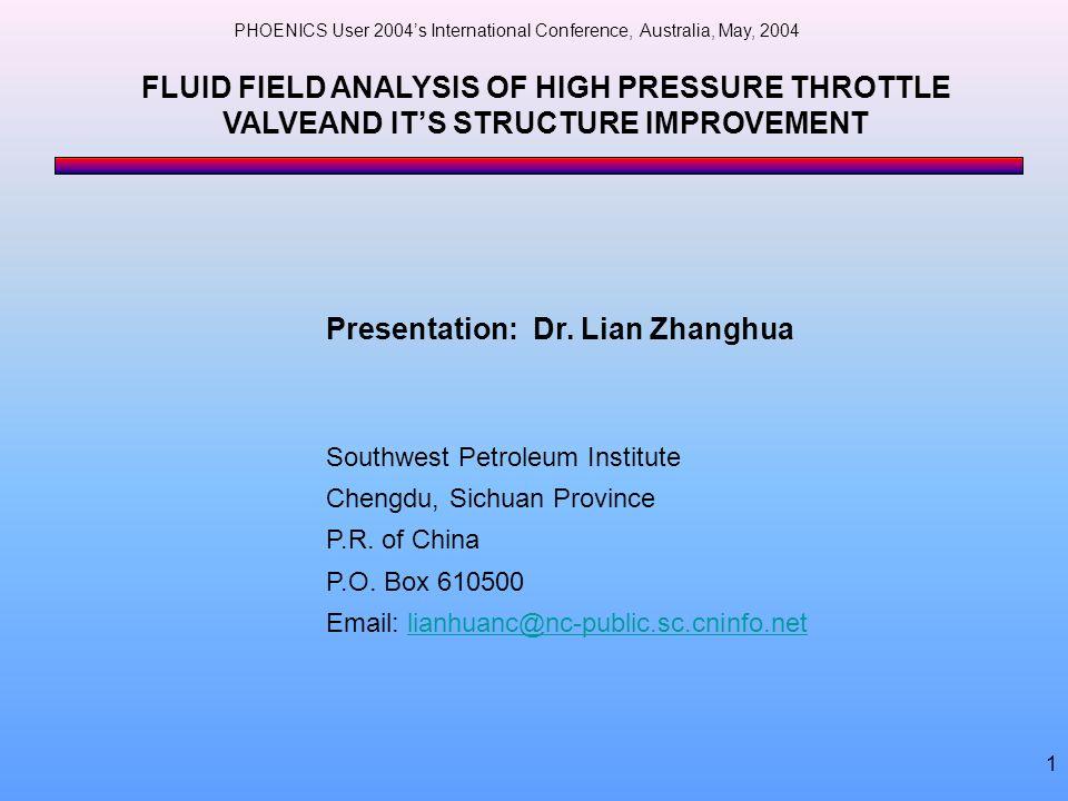 Presentation: Dr. Lian Zhanghua