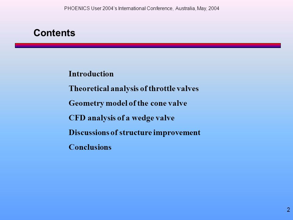 Contents Introduction Theoretical analysis of throttle valves