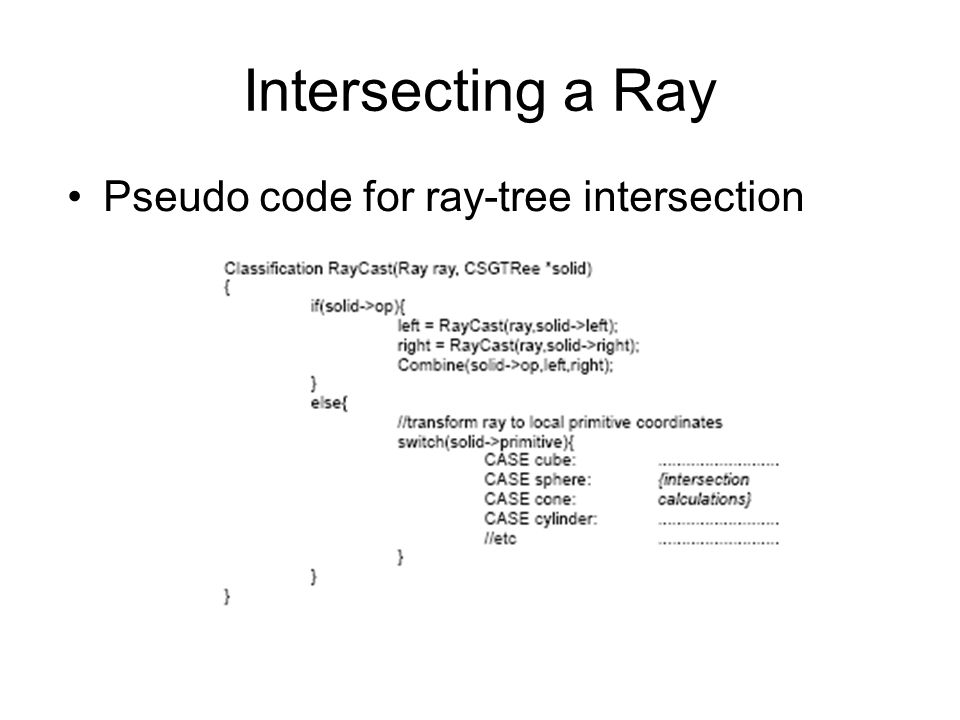 Intersecting a Ray Pseudo code for ray-tree intersection