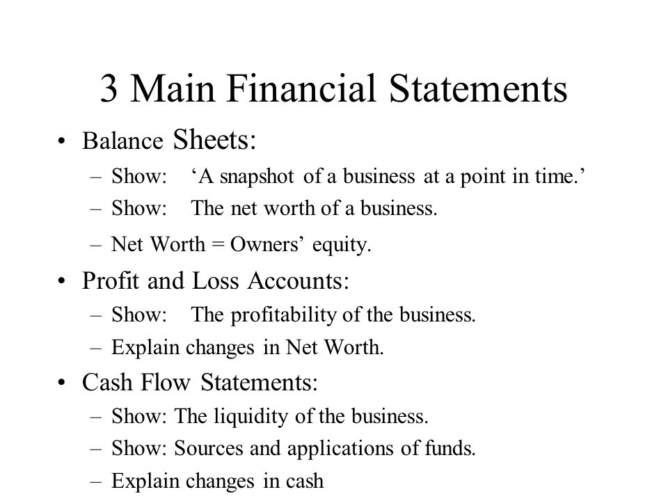 3 Main Financial Statements