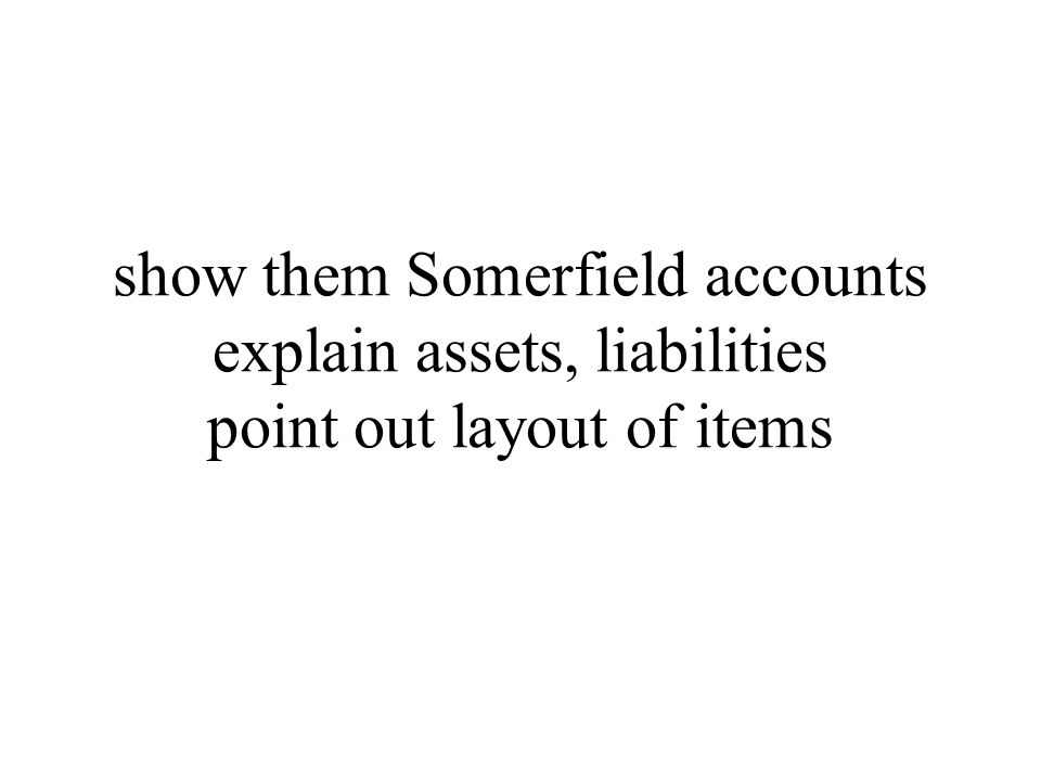 show them Somerfield accounts explain assets, liabilities point out layout of items