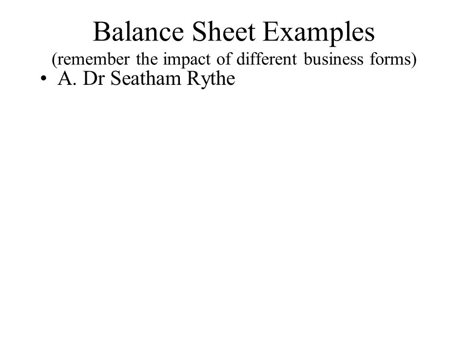 Balance Sheet Examples (remember the impact of different business forms)