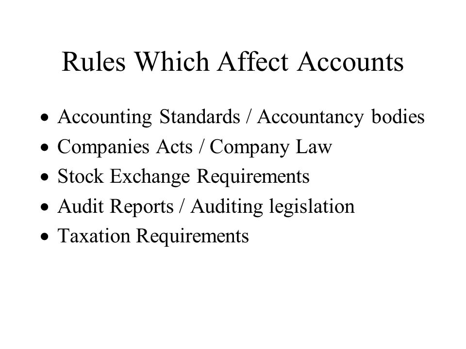 Rules Which Affect Accounts