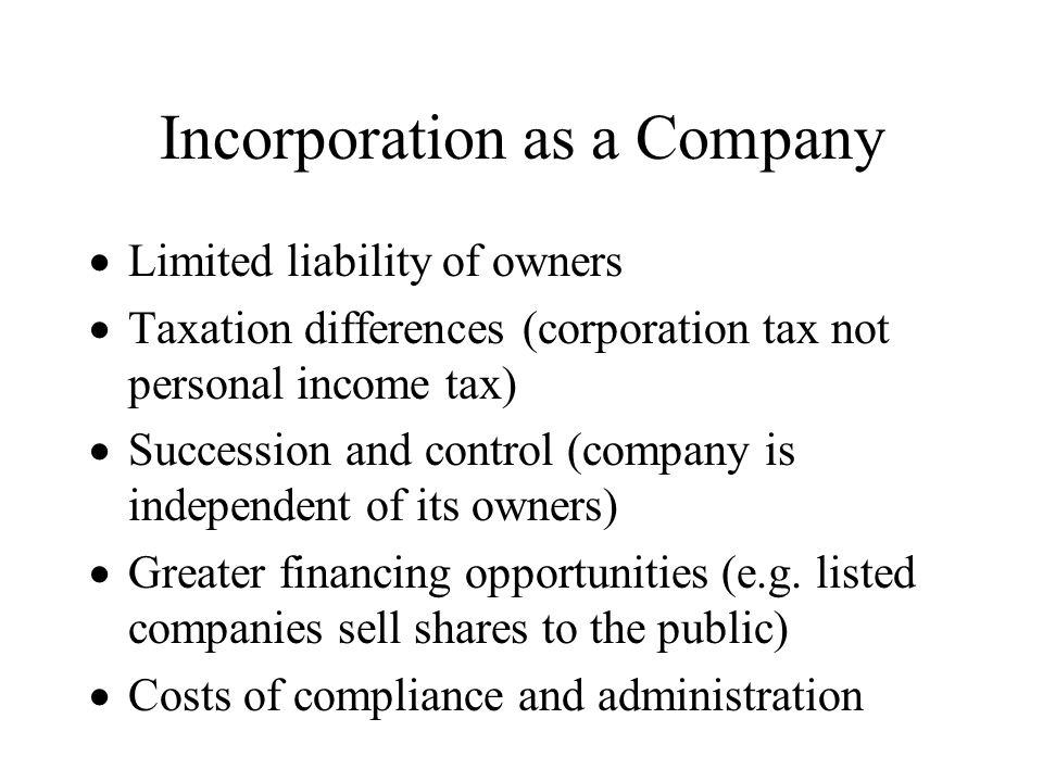 Incorporation as a Company