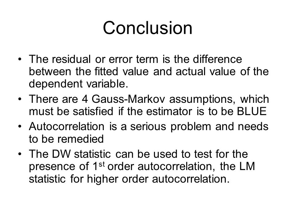 Conclusion The residual or error term is the difference between the fitted value and actual value of the dependent variable.