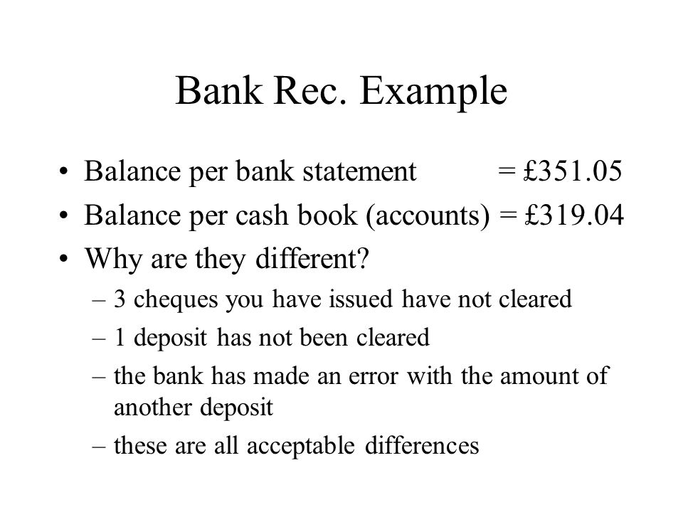 Bank Rec. Example Balance per bank statement = £351.05