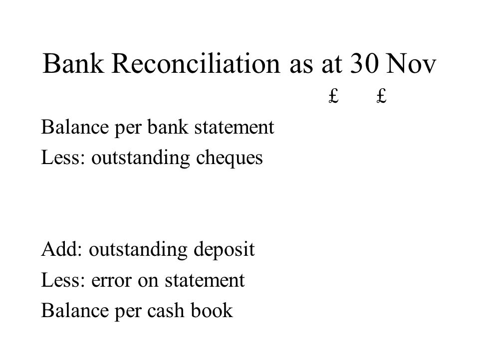 Bank Reconciliation as at 30 Nov