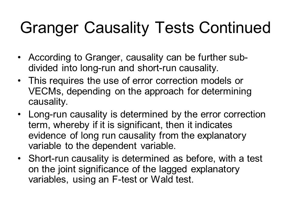 Granger Causality Tests Continued