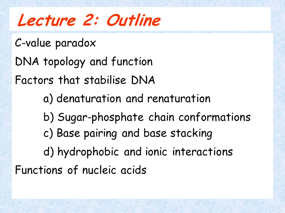 Lecture 2: Outline C-value paradox DNA topology and function