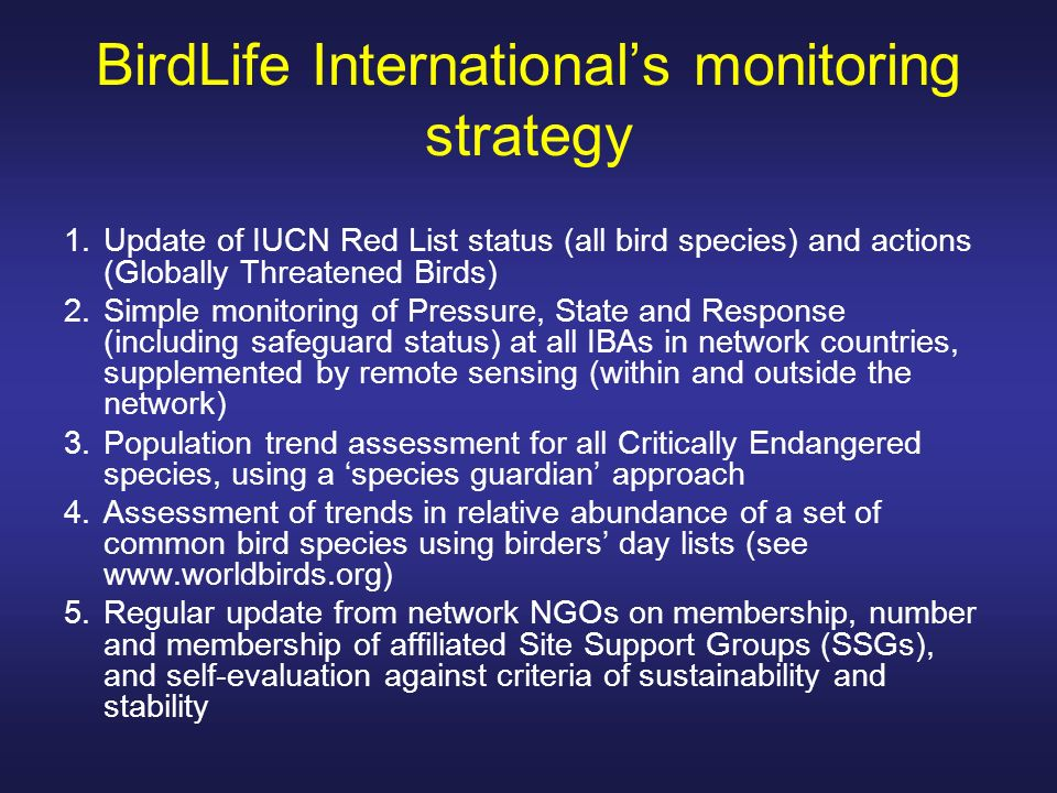 BirdLife International's monitoring strategy