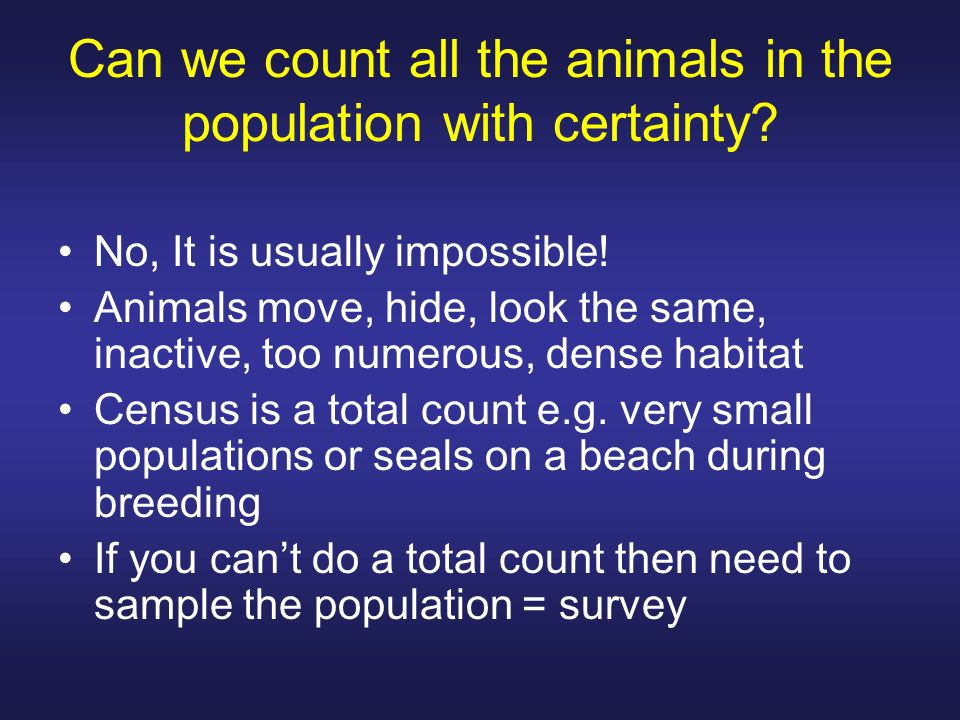 Can we count all the animals in the population with certainty