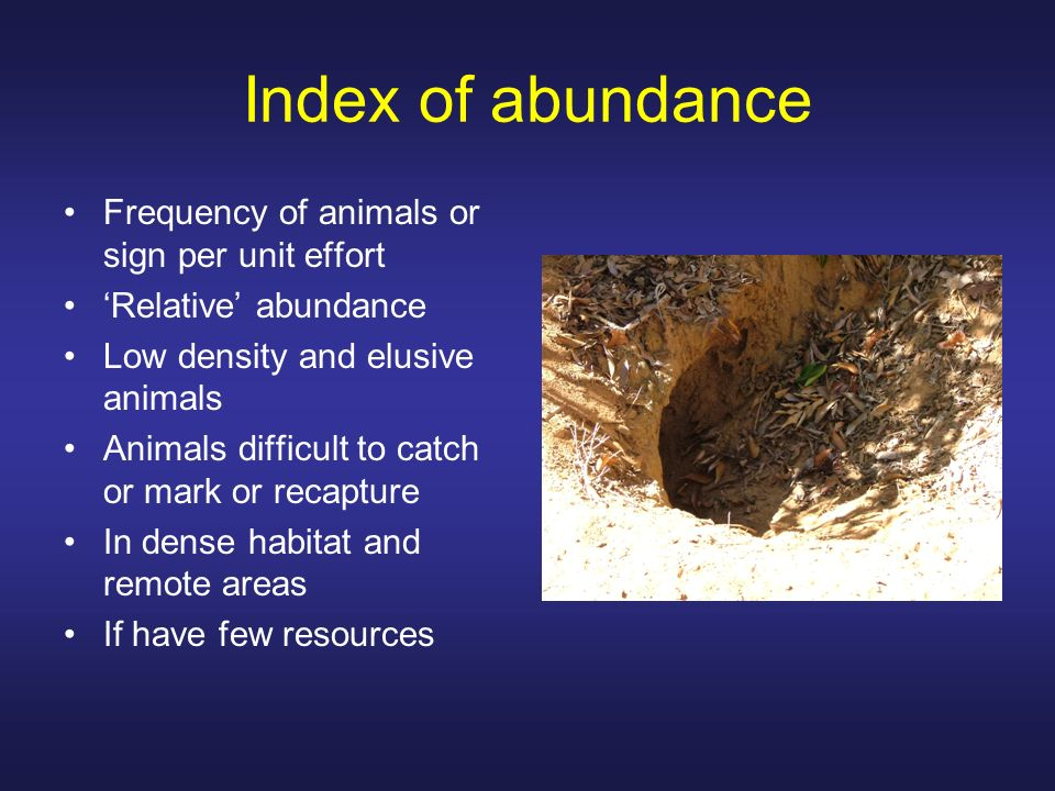 Index of abundance Frequency of animals or sign per unit effort