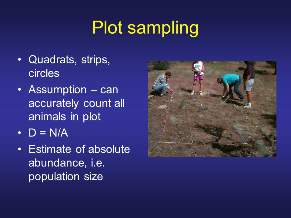 Plot sampling Quadrats, strips, circles