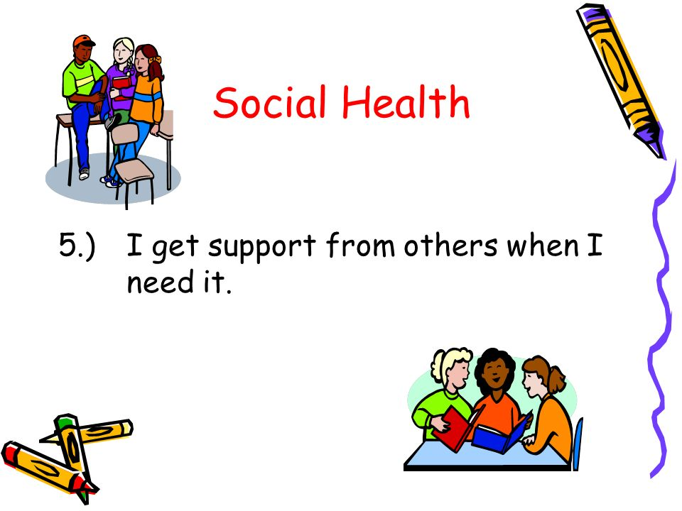 Social Health 5.) I get support from others when I need it.