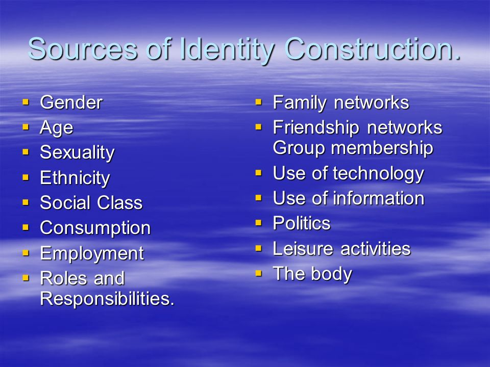 Sources of Identity Construction.