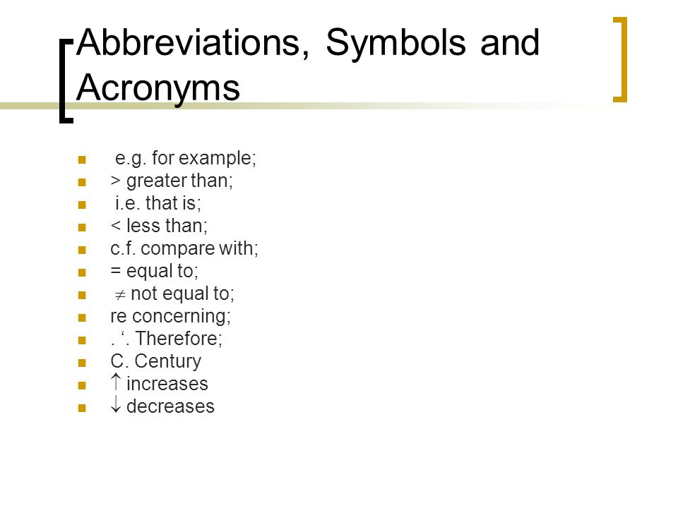 Abbreviations, Symbols and Acronyms