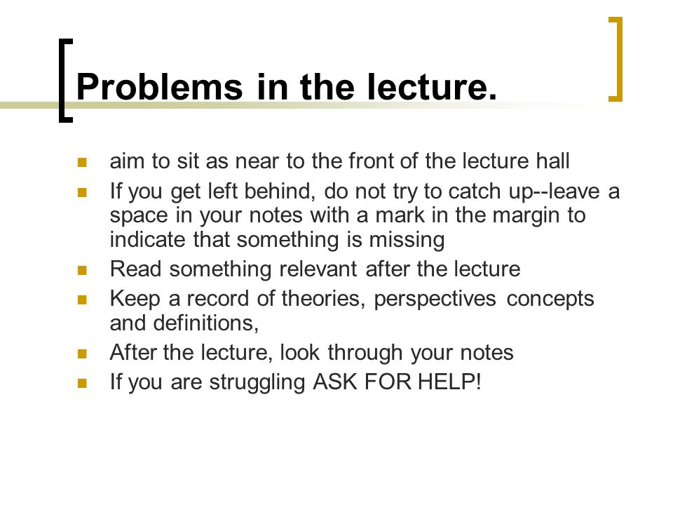 Problems in the lecture.