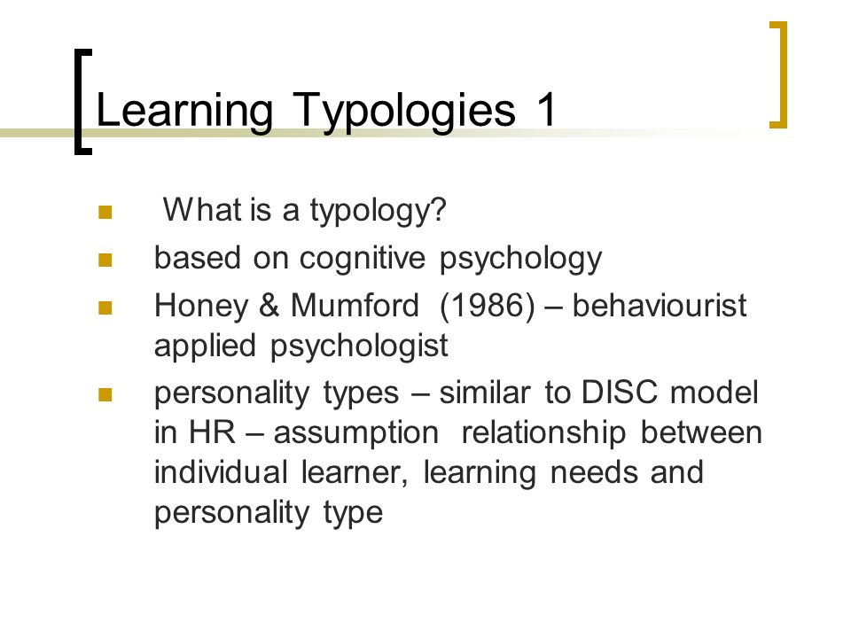 Learning Typologies 1 What is a typology