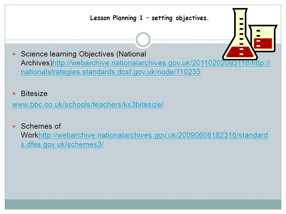 Science learning Objectives (National Archives)