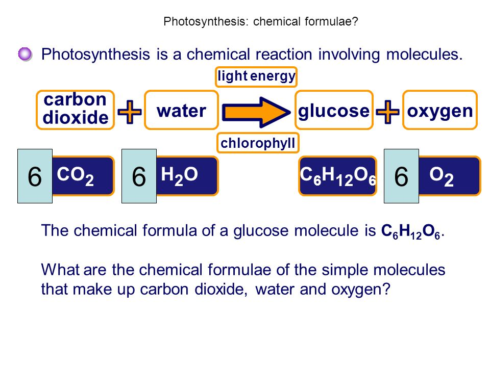 Photosynthesis: chemical formulae