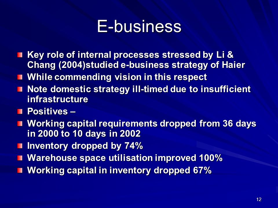E-business Key role of internal processes stressed by Li & Chang (2004)studied e-business strategy of Haier.