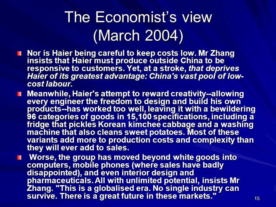 The Economist's view (March 2004)