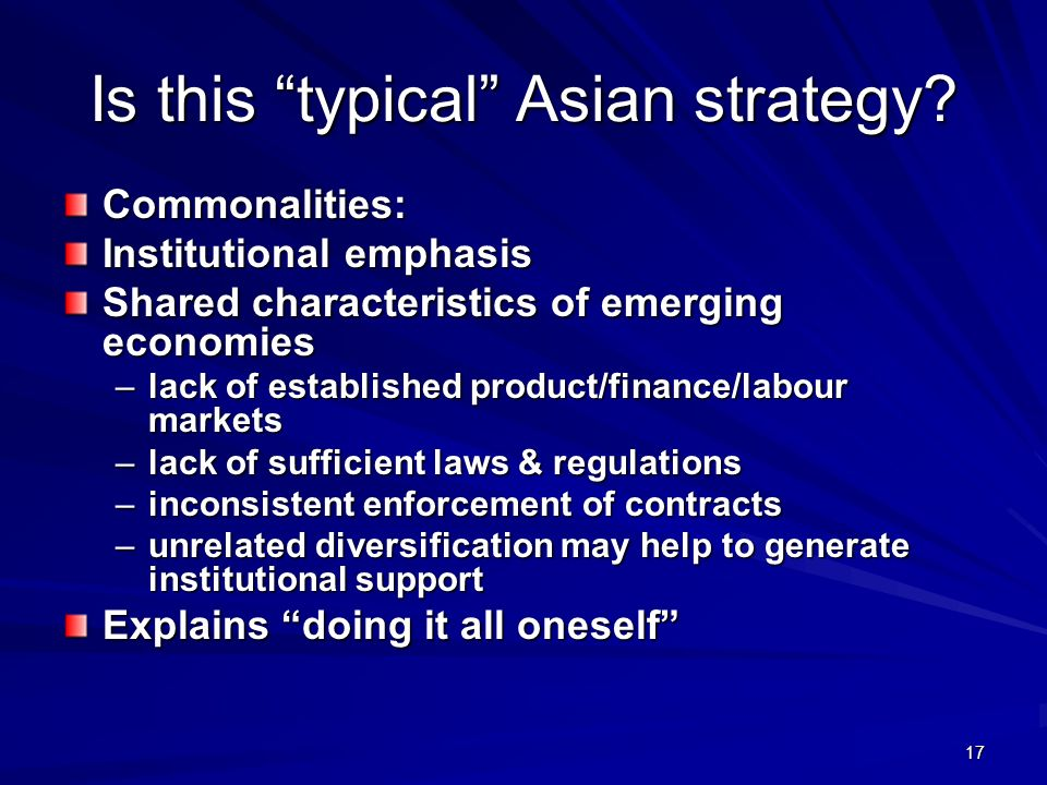 Is this typical Asian strategy