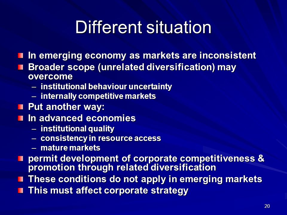 Different situation In emerging economy as markets are inconsistent