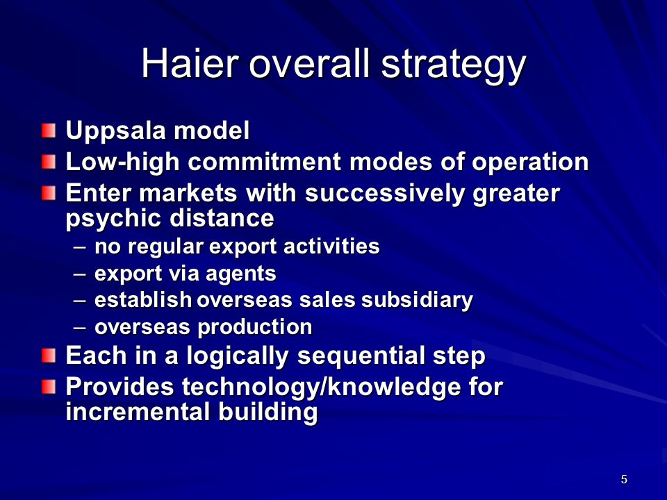 Haier overall strategy