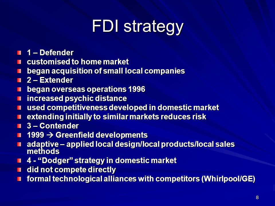 FDI strategy 1 – Defender customised to home market