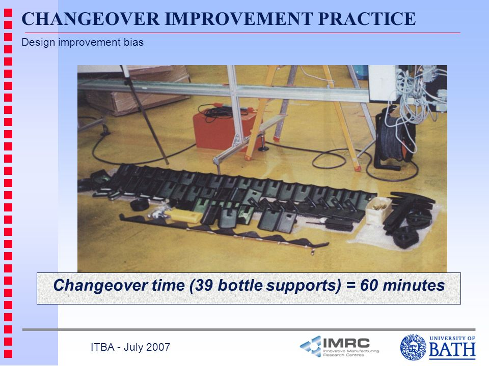 Changeover time (39 bottle supports) = 60 minutes