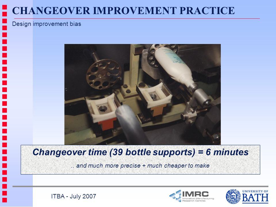 Changeover time (39 bottle supports) = 6 minutes