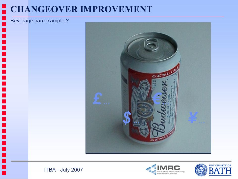 £ … € … CHANGEOVER IMPROVEMENT $ … ¥ … Beverage can example