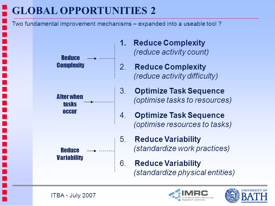 GLOBAL OPPORTUNITIES 2 Reduce Complexity (reduce activity count)